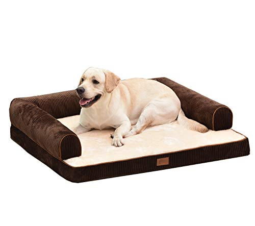 AcornPets® B-1402 Ultimate Extra Large Coffee Brown 10 CM Solid Memory Foam Dog Sofa Bed Fleece 110 x 95 CM For Large Dogs, Premium Corduroy and Smooth Velveteen Fabric, Detachable and Washable