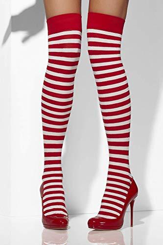 Smiffys Fever Damen Blickdichte Halterlose Strümpfe, Gestreift, One Size, Rot und Weiß, 42768