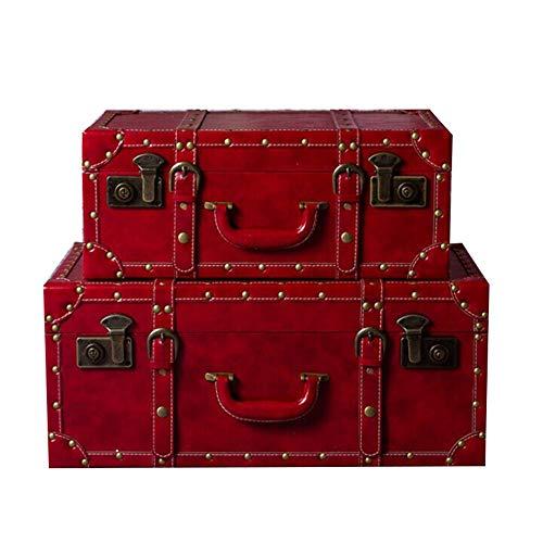 Vintage Style Trunk Schlafzimmer, Wohnzimmer und Hochzeitsdekoration im chinesischen Stil Hochzeit Koffer Big Red Koffer, Extra Large Aufbewahrungskoffer Set 2 Truhen Dekorative Accessoires