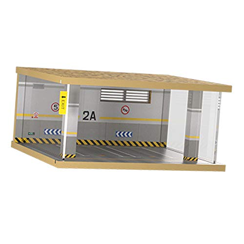 FITYLE Diorama de Madera Modelo 1:32 Aparcamiento Escena Juguete Coche simulación Polvo Cubierta Modificado decoración de Garaje Ornamento - 2 Punto 2A