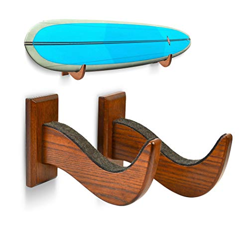 TESLYAR Surfboard Rack Holder Hooks Ash Tree Wood...