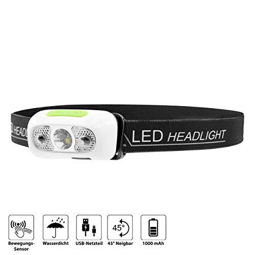 famvis LED Stirnlampe - sehr helle und angenehm leichte wiederaufladbare Kopflampe mit Bewegungssensor für Ihre Outdoor Aktivitäten