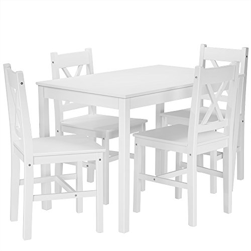 Panana Solid Wood Pine Dining Table Setand 4 X Shape Chairs Set Kitchen Room Furniture (White)