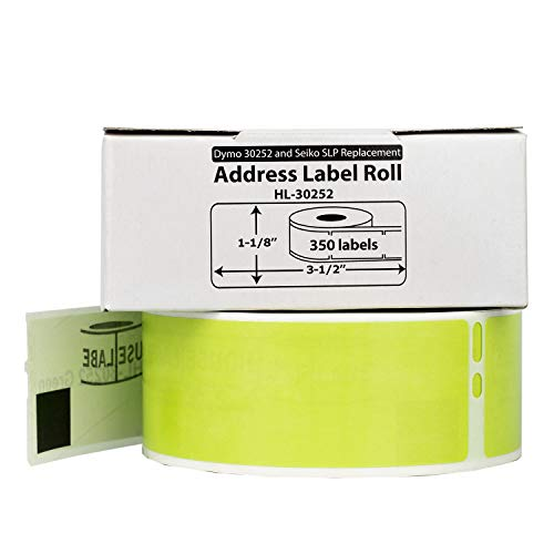 """HOUSELABELS Compatible DYMO 30252 Green Address Labels (1-1/8"""" x 3-1/2"""") Compatible with Rollo, DYMO LW Printers, 1 Roll / 350 Labels per Roll Photo #6"""