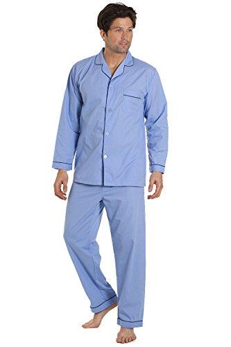 Haigman Herren Nachtwäsche, Langarm-Schlafanzug mit Hosen, blau, Größe XXXL