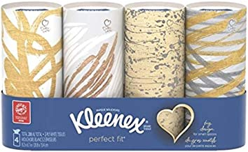 Kleenex Perfect Fit Facial Tissue, White, Tube Box, 50 Sheets, 4 Ct