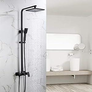 Auralum Mezclador de ducha 2 funciones para baño, sistema de ducha negro con ducha de lluvia 23×23 cm, incluye ducha de mano, ducha de lluvia, barra de ducha ajustable, montaje en pared