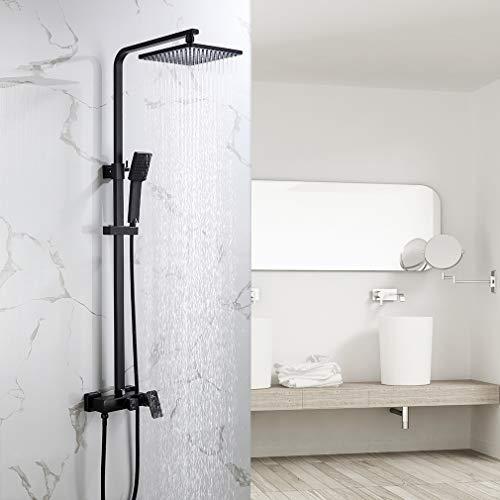 Auralum 2 Funktionen Dusche Duscharmatur fürs Badezimmer, schwarz Duschsystem mit Regendusche 23x23 cm, inkl. Handbrause, Regenbrause, verstellbarer Duschstange, Wandmontage