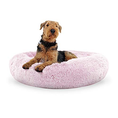 The Dog's Bed Lit pour chien en forme de donut avec housse amovible Rose Taille L
