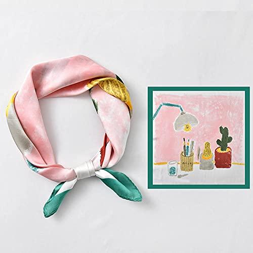 ZAMi Bufanda Cuadrada pequeña Bufanda de Seda de Primavera y otoño Bufanda Decorativa de Moda para Mujer Diadema artística/lámpara de Mesa pequeña Bufanda