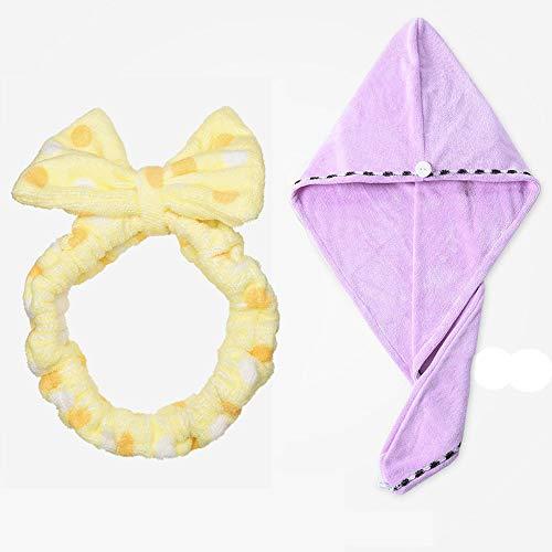 YLL Waschen Haar-Band-Stirnband Maske Maske Kopfschmuck weibliche Make-up-Haar-Band-Haar mit Trockenes Haar Cap trockenes Haar-Tuch (Farbe : Gelb)
