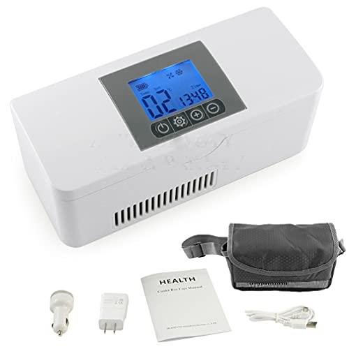 Insulin Cooler Case 35.6-46.4 ℉ USB Portable Reefer Car Small Refrigerator for Insulin 8 Horas Standby Insulin Fridge Car Refrigerator Pill Cases Caja de almacenamiento de insulina portátil de viaje