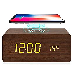 fomobest Wooden Alarm Clock with Wireless Charging for iPhone Samsung, Wood Digital LED Desk Clock for Bedroom, 3 Alarm Settings, Sound Control, Adjustable Brightness, Time Temperature (Brown)