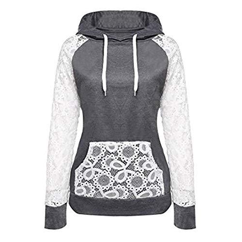 Leyben Women's Tops, Womens Loose Causal Lace Patchwork Hooded Sweatshirt Pullover Hoodie Coat Outerwear Tops(XL,Dark Gray)