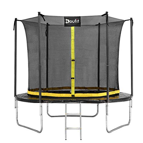 Doufit 8FT 10FT 12FT Trampoline with Enclosure Net and Ladder, TR-06 Outdoor Recreational Rebounder Trampoline for Kids and Family, Jumping Exercise Fitness Heavy Duty Trampoline (8-FT)