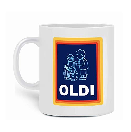 OLDI Tasse – lustige Supermarkt-Marke lustige Tasse Kaffee Tee Schokolade Menschen alte Menschen Geschenke