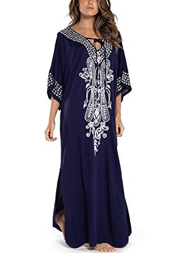 QIUYEJUO Women Beachwear Cotton Turkish Kaftans Floral Print Long Bikini Swimsuit Cover up Caftan Beach Dress