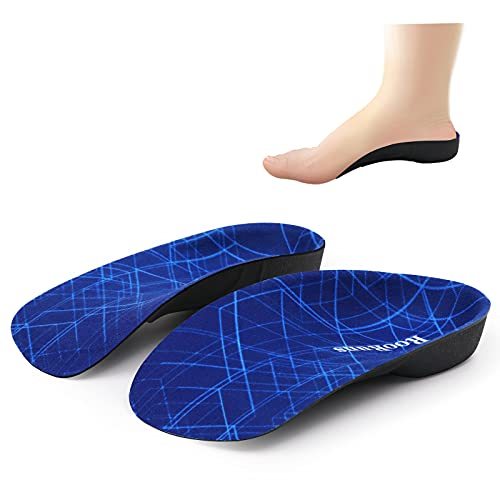 RooRuns Plantar Fasciitis Support Insole  Ultra Sturdy Arch Support Insole for Women and Men 330 LBS  3/4 Length Orthotic Shoe Inserts for Flat Feet  Over-Pronation  Plantar Fasciitis  Foot Pain