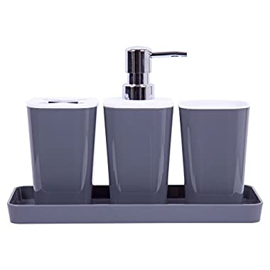Bodico Sick of 4-Piece Bathroom Accessory Set, 10 x 7 inches, Grey