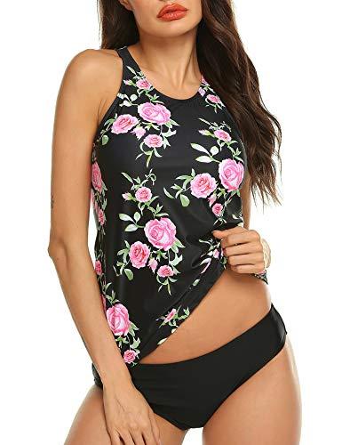 MAXMODA Women's Two Pieces Swimwear Retro Floral Printed Tankini Top with Triangle Bottoms