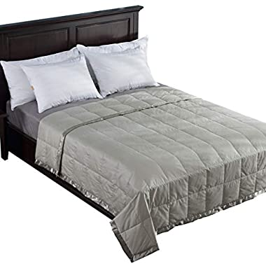 puredown Lightweight Natural White Down Blanket for Bedding Satin Weave 100% Egyptian Cotton Green King Size