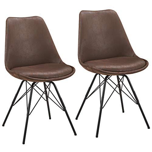 Duhome Set di 2 Sedia da sala da pranzo design retro stil scandinavo con piedini in metallo cucina vintage 518MJ, colore:marrone, materiale:tessuto effetto cuoio