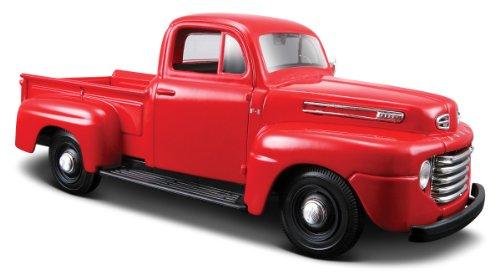 Maisto Ford F1 Pickup '48: getrouw modelauto 1:24, deuren en motorkap te openen, klaar model, 20 cm, rood (531935)