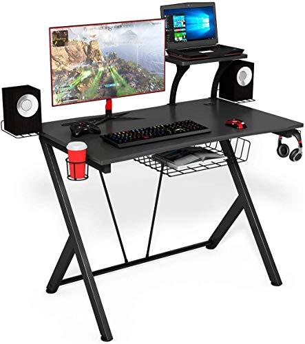 COSTWAY Mesa para Gaming Ergonómica Escritorio para Computadora Juego con Gancho Portavasos y Soporte para Auriculares Negro