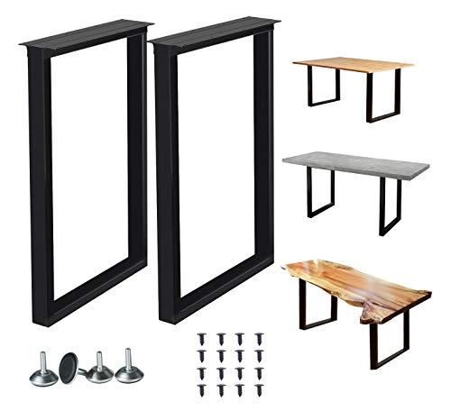 "Metal Table Legs 28 Inch Metal Coffee Table Legs Heavy Duty Square Tube Iron Desk Legs Industrial Furniture Legs,Dining Table Legs,Modern Coffee Table Legs,Bench Legs,Set of 2 28"" Height 18"" Wide"