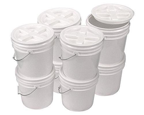 Bucket Kit, Eight White 2 Gallon Buckets with White Gamma Seal Lids