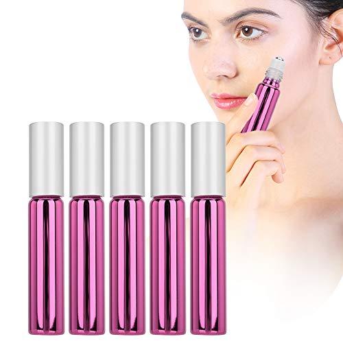 Botellas de vidrio de 5 ml de 10 ml con bolas de rodillos de acero inoxidable, botella de bola de rodillo de aceite esencial vacía Contenedor de dispensador de perfume de vidrio(Rosa roja)