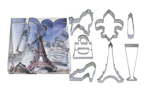 """R & M International Oh La La! 7 Piece Paris Collection Cookie Cutter Set - Eiffel Tower, Fleur de Lis, Poodle, Champagne and more. 4.5"""" - 2.75"""" Great for celebrations and crafts"""