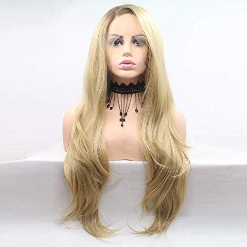 CHUTD Synthetische Kant Voor Pruik Golvend Stijl Kant Voor Pruik Blond Synthetisch Haar Vrouwen Haar Blonde Pruik Lange Natuurlijke Pruiken 150% Dichtheid Natuurlijke Pruiken