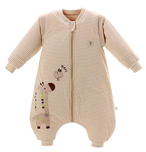 Chilsuessy Baby Winter Schlafsack mit Füßen und abnehmbar Langarm Pyjamas aus Bio Baumwolle kleine Kinder Schlafsack für Baby 1 bis 6 Jahre, Giraffe/2.5 Tog, L/Koerpergroesse 110-120cm