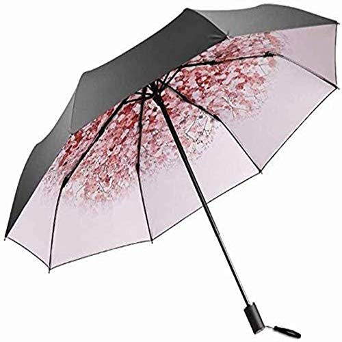 YGB Portable Umbrella t Protection Umbrella Ladies Ultra Light Sun Umbrella Foldable 2 People Use Black Umbrella Easy To Carry