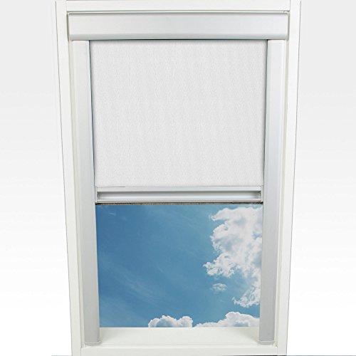 Liedeco Dachfensterrollo m. seitl. Führungsschiene 77,5 x 136,0 cm Fb. weiß