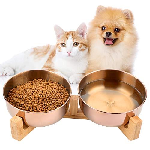 Dorakitten Futternapf Hund, Futterstation katzen 2 PCS Schüsseln aus Edelstahl für Katzen und Hunde mit Massivholz Ständer - 16.5 * 6cm