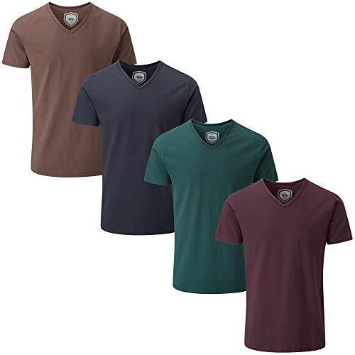 Charles Wilson Paquete 4 Camisetas Elásticas Elastano Cuello Pico (Large, Dark Essentials 64)