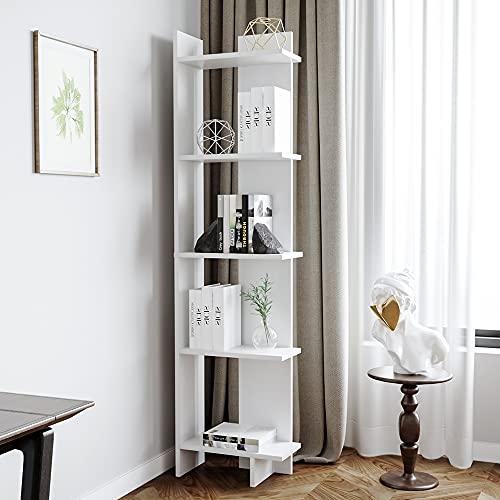 BTGGG 5 Tier Storage Shelves Bookcase Modern Corner Shelving Unit Display Rack Free Standing Bookshelf Cupboard Cabinet for Living Room Bedroom Home Office, White