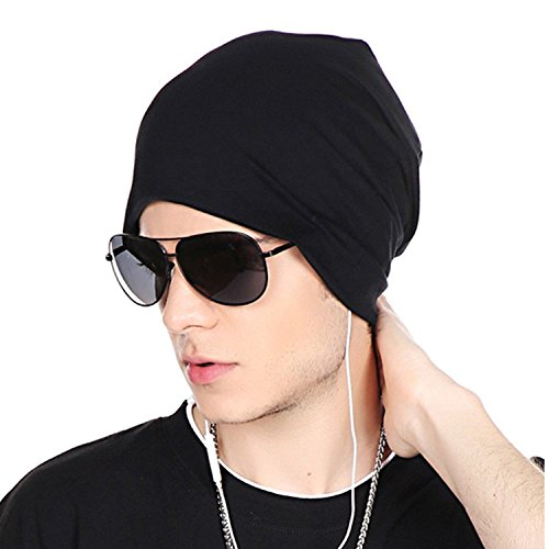 DRUNKEN Men's Spandex Plain Slouchy Beanie Stylish Cap Black Freesize
