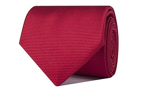 Sologemelos - Cravate Unie - Rouge 100% soie naturelle - Hommes - Taille Unique - Confection artesanale Made In Italy