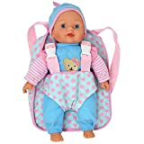 13' Soft Baby Doll with Take Along Pink Doll Backpack Carrier, Briefcase Pocket Fits Doll Accessories and Clothing