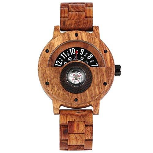 AZDS Wooden Watch Unique Compass Turntable Designer Ebony Wood Watch Men's Creative Semicircle Dial Clock Full Wood Watch Retro