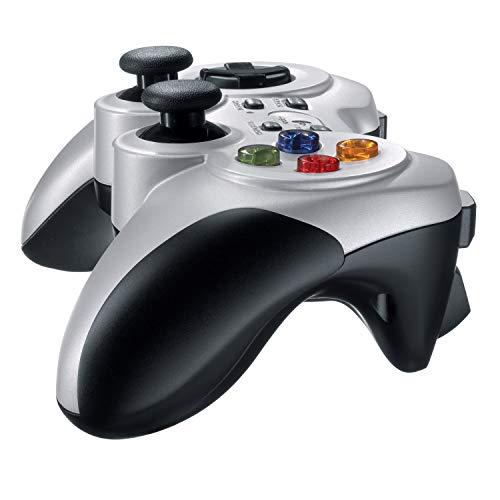Logitech F710 kabelloses Gamepad, Spiele-Controller mit Konsolenartigem Layout, 4 Tasten D-Pad, Komfortable Griffflächen, PC/Mac, Silber - Deutsche Verpackung