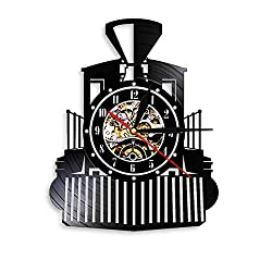 Wangzhongjie Steam Locomotive Train Wall Clock Steam Engine Vinyl Record Wall Clock Train Locomotive Watch Home Decor Train Enthusiast Gift