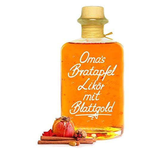 Oma's Bratapfel Likör mit 24 Karat Blattgold 0,5L sehr fruchtig & süffig 20% Vol