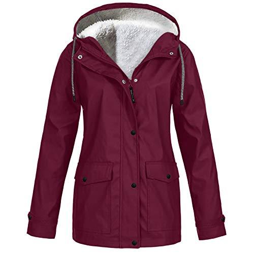 Pianshanzi Coupe-vent Softshell pour femme - Manteau de pluie doublé - Imperméable - Respirant - Hiver - Chaud - Outdoor - Veste de pluie avec capuche - Softshell - Coupe-vent, rouge bordeaux, S