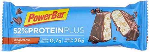 PowerBar High Protein Riegel mit Casein, Whey und Sojaprotein – mit 26g Eiweiß – Low Sugar Eiweiß-Riegel, Fitness-Riegel – 24 x 50g Chocolate Nut