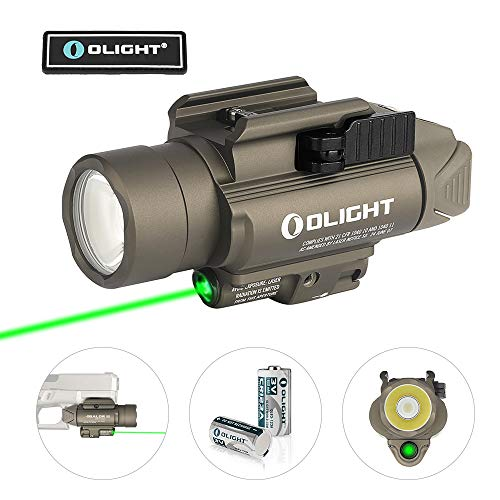 OLIGHT Baldr Pro 1350 Lumens Tactical Weaponlight with Green Light and White LED, 260 Meters Beam Distance Compatible with 1913 or GL Rail, Powered by 2 x CR123A Batteries (Desert Tan)
