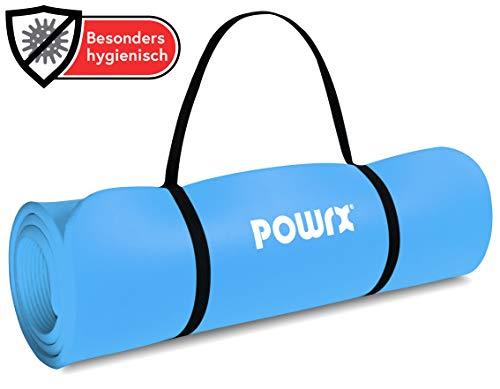 POWRX Tapis de Gymnastique Anti-DÉRAPANT sans phtalates/Tapis de Sol – Pilates/Sangle de Transport + Sac + Poster d´entraînement/Dimensions 190 x 60, 80 ou 100 x 1,5 cm/Différentes Couleurs